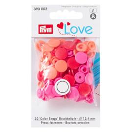 Color snaps -  Prym Love color rond 12,4mm rood, roze en coral