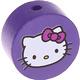Houten kraal rond ''Hello Kitty'' paars ''babyproof''