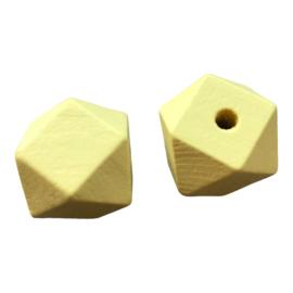 Houten Hexagon Facet kraal 20 mm Geel