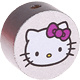 Houten kraal rond ''Hello Kitty'' zilver ''babyproof''