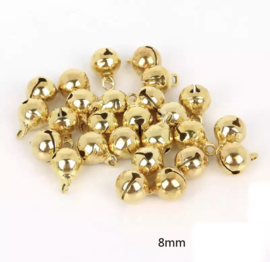 Belletjes goudkleurig 8 mm - 30 stuks