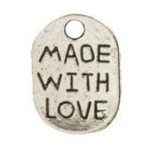 Metaal rechthoek made with love  zilver