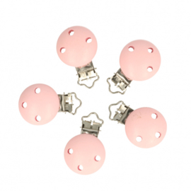 5 kleine houten speenclips Opry  Baby roze