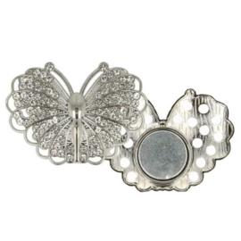 Magnetische Broche Vlinder 45mm zilver