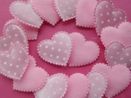 Hartje applicatie 33mm roze met witte stip