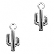 Bedel cactus antiek zilver (nikkelvrij)