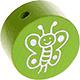 Houten kraal vlinder lichtgroen ''babyproof''