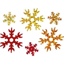 Pailletten Sneeuwsterren Rood - Goud -Koper