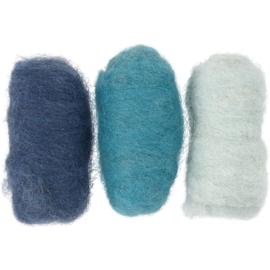 Gekaarde wol - Blauw Harmonie naaldvilt