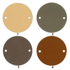 Durable Leren labels rond 3,5cm -  per 2 stuks