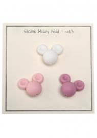 Go Handmade Siliconen kralen Micky 25x20mm - mix roze 3 kralen