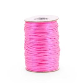 Satijnkoord 2 mm Fluor roze
