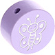 Houten kraal vlinder lila ''babyproof''