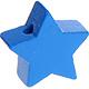 Houten kraal Mini-ster middenblauw effen ''babyproof''