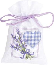 Geurzakje Lavendeltakjes met hartje aida