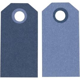 Label afmeting 3 x 6 cm 20 stuks licht/donkerblauw