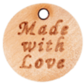 Houten label met Made with Love