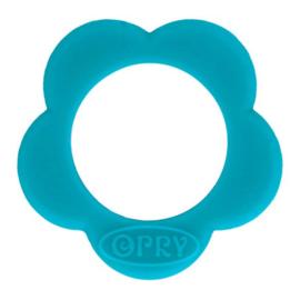Opry siliconen Bloem bijtring  Turquoise - 287