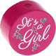 Houten kraal ''It's a Girl'' fuchsia ''babyproof''