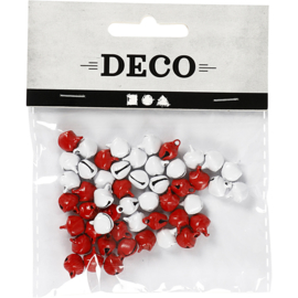 Belletjes 8mm rood/wit