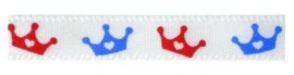 Lint rood - wit - blauw kroontjes 6mm