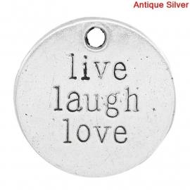 "Bedel met tekst: ""Live Laugh Love"""
