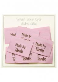"Go Handmade stoffen labels dubbelzijdig ""Made by Tante"" Pink 10 stuks"