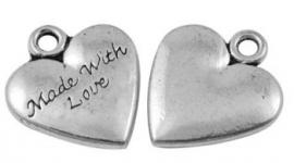 Bedel hart met made with love 19x17mm