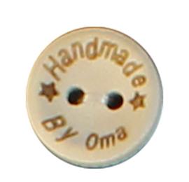 Houten knoop met tekst handmade by oma  20 mm
