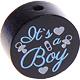 Houten kraal ''It's a Boy'' zwart ''babyproof''