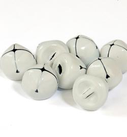 Kerstbelletjes wit  15mm - 8 stuks