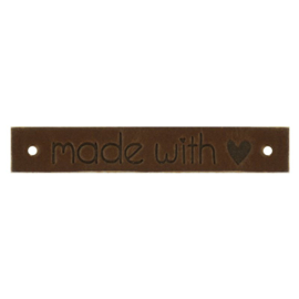 Leren label Made with ♥ 10mm x 61,5mm bruin