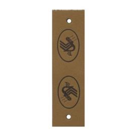 Durable leren label taupe bruin