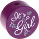 Houten kraal ''It's a Girl'' paarsfuchsia ''babyproof''