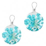 Bedel gedroogde bloempje turquoise blauw