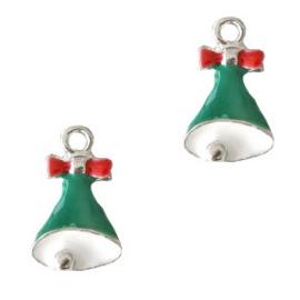 Bedel Kerstklokjes zilver -groen per stuk