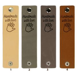 Durable Rechthoekige leren labels met drukknoop van 12 x 3 cm - Handmade with Love per 2 stuks