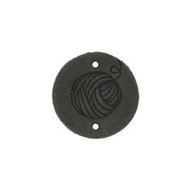 Leren label Round Wool 3cm antraciet