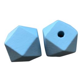 Houten Hexagon Facet kraal 20 mm Blauw