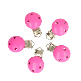 5 kleine houten speenclips Opry  Hard roze