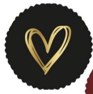 Kadosticker Gouden folie hart Zwart 10 st