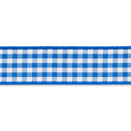 Geruit lint - vicky 10mm Koningsblauw