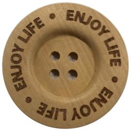 Houten knoop: Enjoy Life 40mm