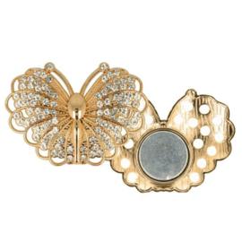 Magnetische Broche vlinder 45mm Goud