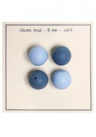 Go Handmade Siliconen kralen 18mm - mix blauw 4 kralen