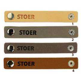 Durable leren label bandje met drukknoop van 10 x 1,5 cm -Stoer per 2 stuks