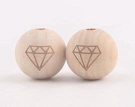 Houten kraal - Diamantje- 20mm