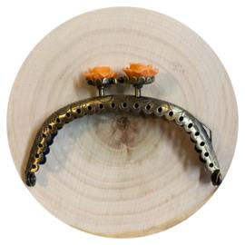 Portemonnee sluiting Brons  Zacht Oranje roosknopje rond 8,5cm