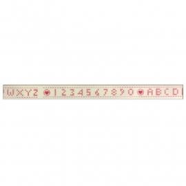 Prachtig lint met alfabet wit met fuchsia