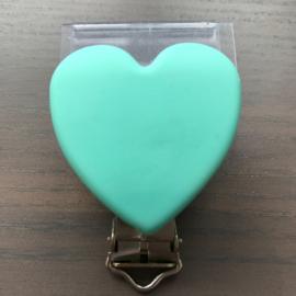 Siliconen speenclip hartje Licht Jade